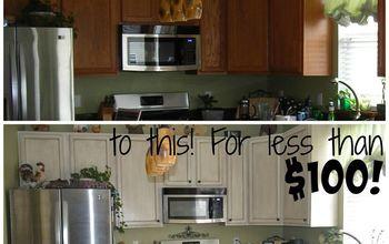 white glazed painted cabinet transformation, kitchen cabinets, kitchen design, painting
