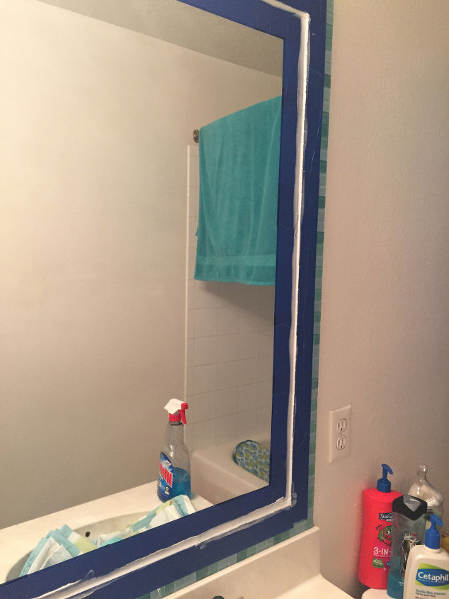 tiled bathroom mirror frame no grout, bathroom ideas, how to, tiling, wall decor