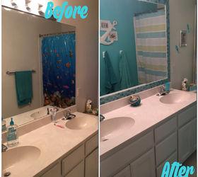 Tiled Bathroom Mirror Frame No Grout Hometalk