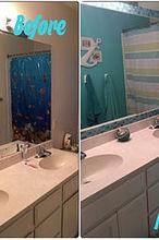 tiled bathroom mirror frame no grout, bathroom ideas, how to, tiling, wall decor