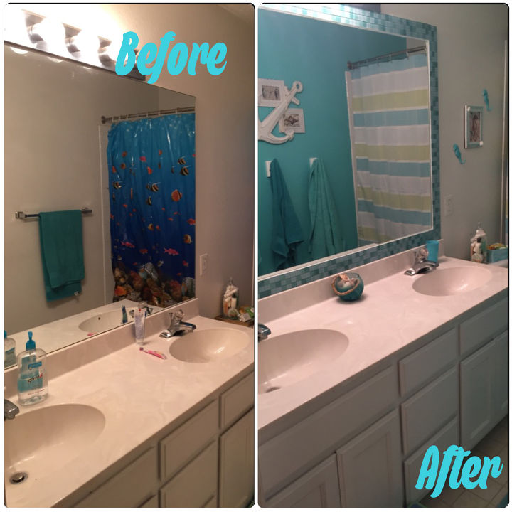 Tiled Bathroom Mirror Frame - No Grout! | Hometalk