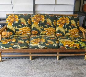 Thrift Store Rattan Sofa Makeover, Outdoor Furniture, Painted Furniture,  Reupholster