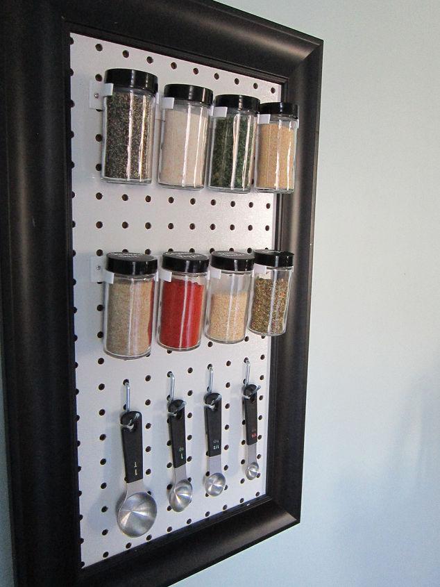 peg board spice rack, diy, organizing, storage ideas