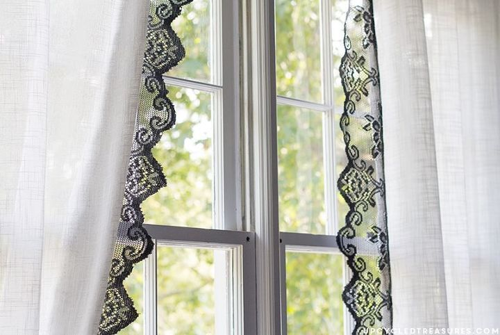 diy lace curtains from table runners, bedroom ideas, crafts, repurposing upcycling, reupholster, window treatments