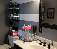 painted stripes in my bathroom makeover, bathroom ideas, how to, painting