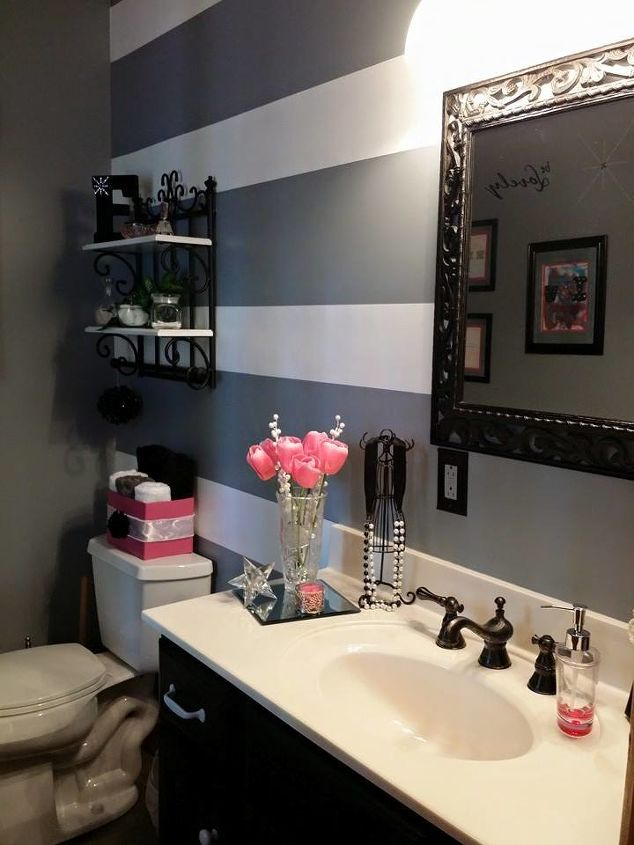 Painted Stripes In My Bathroom Makeover Hometalk - Makeover my bathroom