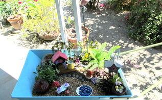 rusty cart to fairy garden, container gardening, crafts, gardening, painting, repurposing upcycling