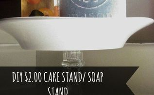 diy dollar store cake stand soap stand, crafts, repurposing upcycling