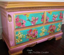 pink floral dresser, decoupage, painted furniture