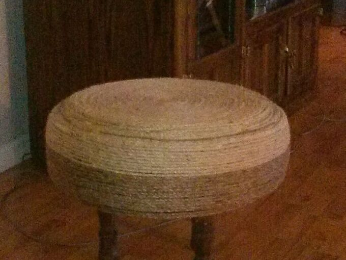 tire ottoman, how to, painted furniture, repurposing upcycling, enjoy
