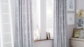 , Cross hatched velvet drapes from West Elm