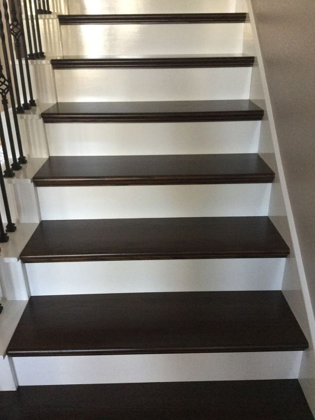 Diy wood plank stairs hometalk for Hardwood floors on stairs