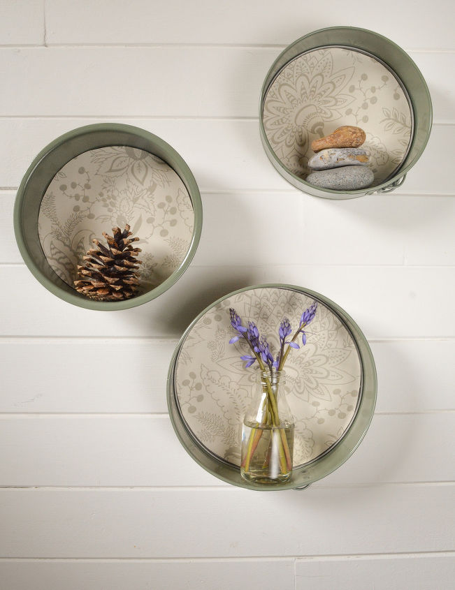 how to create floating wall shelves with old cake tins, how to, repurposing upcycling, shelving ideas