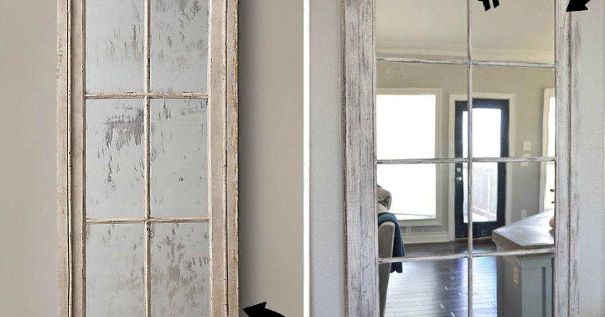 Diy rh french window pane mirror hometalk teraionfo