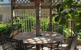new patio table from old one, outdoor furniture, painted furniture, repurposing upcycling, tiling