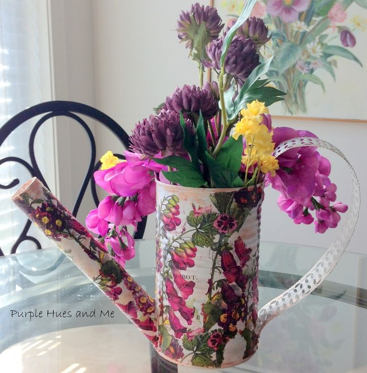 recycle veggie can into a watering can flowerpot, container gardening, crafts, decoupage, how to, repurposing upcycling