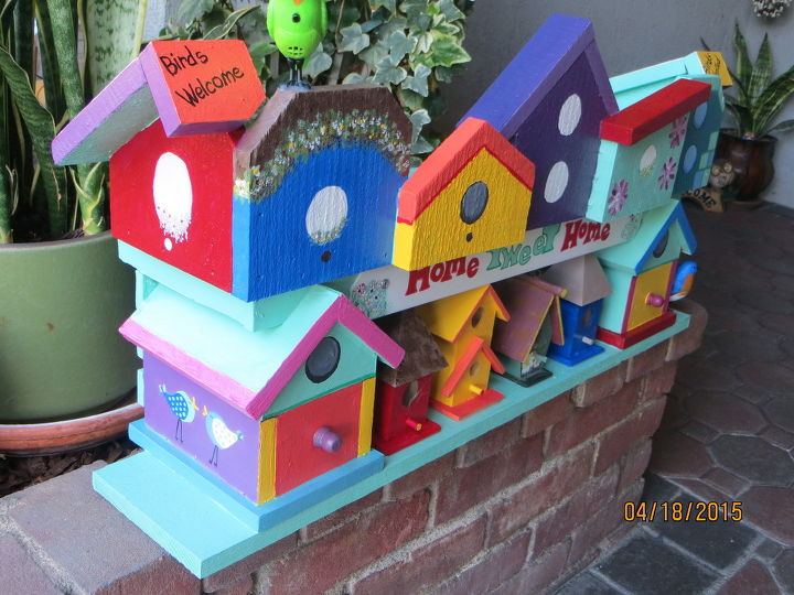 my birdhouse find is done called birdhouse condo of many colors, crafts, gardening, outdoor living, pets animals, repurposing upcycling