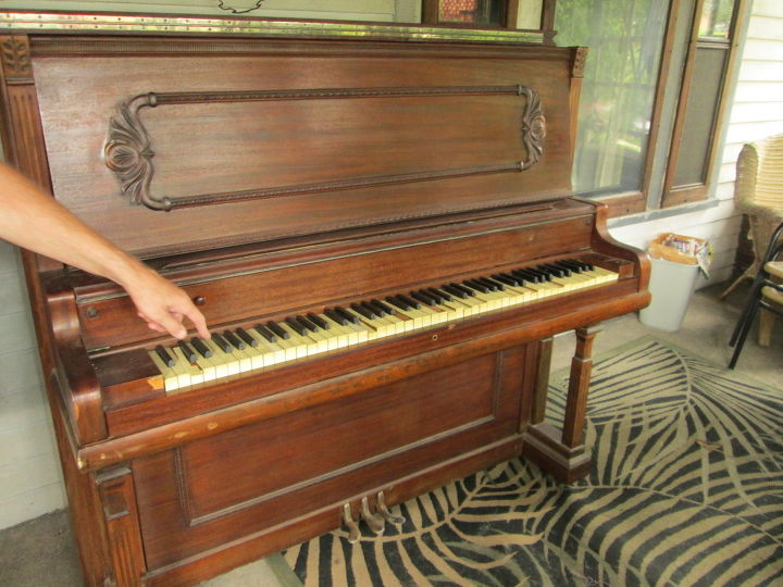 q gutted a sad old piano now what do i do with the pieces, painted furniture, repurposing upcycling, The old dear