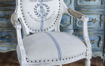 a french chair a grain sack and a stencil, painted furniture, repurposing upcycling, reupholster