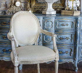 a french chair a grain sack and a stencil painted furniture repurposing upcycling