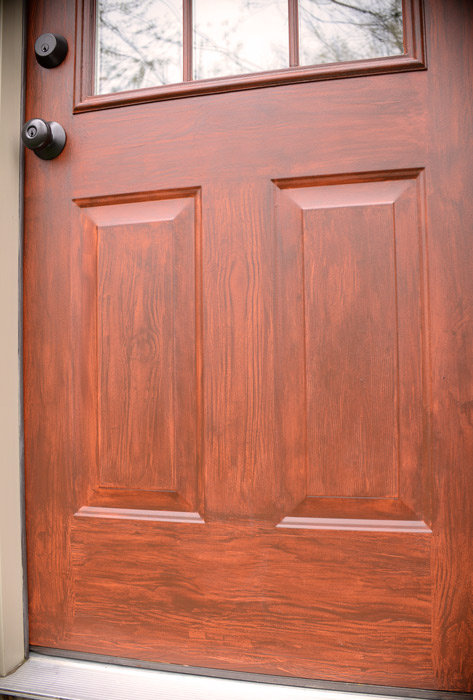 Thrifty transformation how to paint a door to look like for How to paint faux wood garage doors