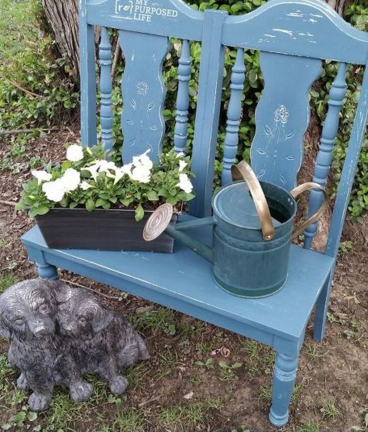 garden bench, chalk paint, outdoor furniture, painted furniture, repurposing upcycling