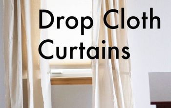 5 minute drop cloth curtains, how to, repurposing upcycling, reupholster, window treatments, windows