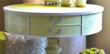use fusion products to create texture and bling on a boring side table, how to, painted furniture