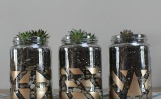 gold painted succulent jars, container gardening, crafts, flowers, gardening, mason jars, repurposing upcycling, succulents