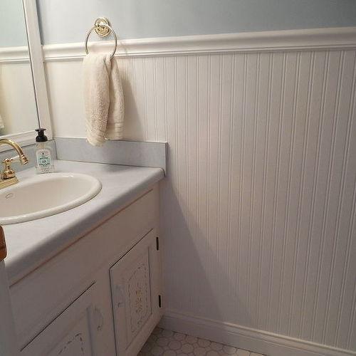 bathroom chair rail designs. should i continue floor tile up to chair rail height in bathroom?   hometalk bathroom designs r