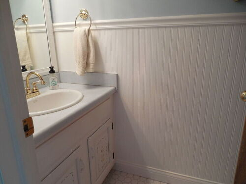 should i continue floor tile up to chair rail height in bathroom hometalk - Bathroom Tiles Height