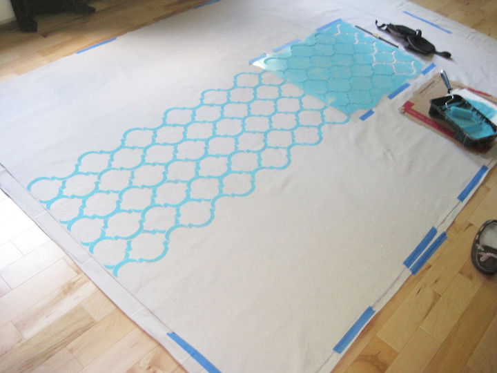 stenciling drop cloth curtain panels using the moroccan dream stencil, crafts, how to, repurposing upcycling, wall decor, window treatments, windows
