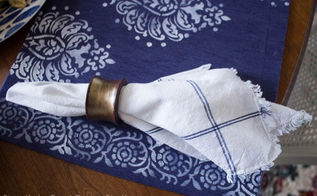 inspired by indigo stencil a sumptuous table setting, crafts, dining room ideas, how to