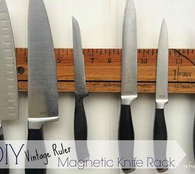 Diy Magnetic Knife Holder With A Vintage Ruler, Diy, How To, Kitchen Design