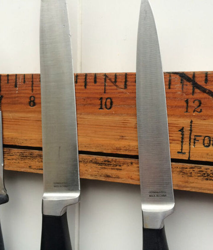 diy magnetic knife holder with a vintage ruler, diy, how to, kitchen design, repurposing upcycling