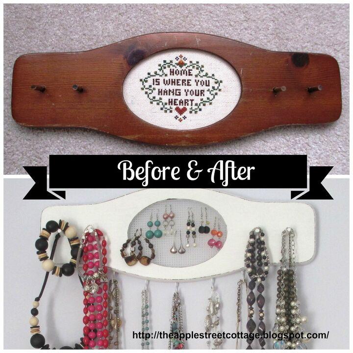 key rack turned jewelry organizer, crafts, organizing, repurposing upcycling