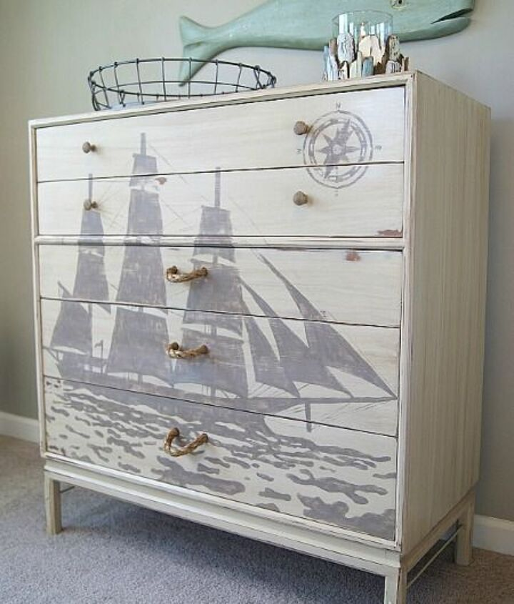 ship silhouette chest of drawers, chalk paint, painted furniture