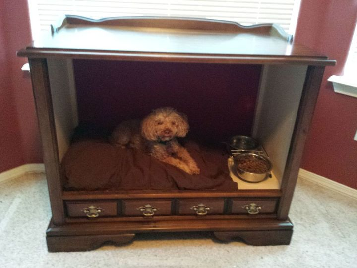 vintage tv cabinet turned dog bed, painted furniture, pets animals,  repurposing upcycling - Vintage TV Cabinet Turned Dog Bed! Hometalk