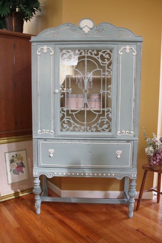 Blue White Vintage China Cabinet Chalk Paint Painted Furniture Repurposing Upcycling