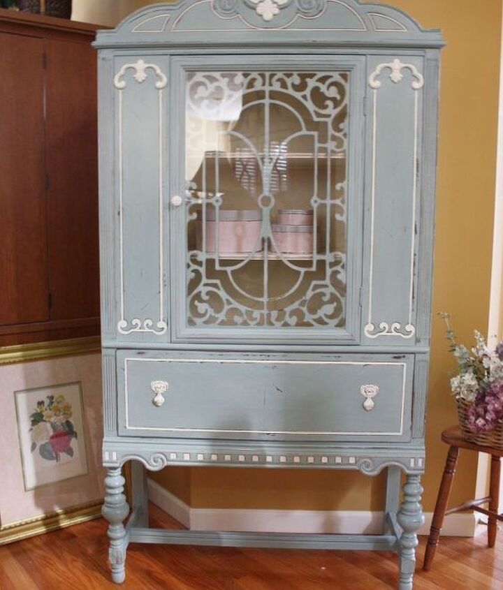 blue white vintage china cabinet, chalk paint, painted furniture, repurposing upcycling