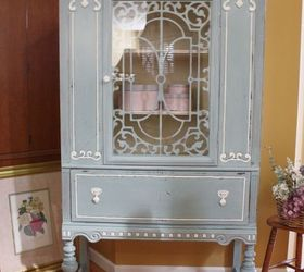 Blue White Vintage China Cabinet, Chalk Paint, Painted Furniture,  Repurposing Upcycling   Blue