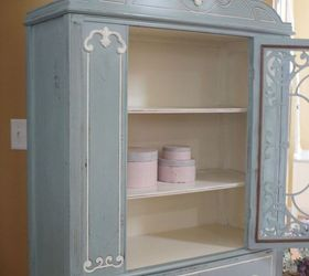 blue white vintage china cabinet chalk paint painted furniture repurposing upcycling patricia
