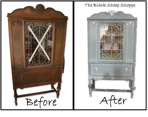 blue white vintage china cabinet, chalk paint, painted furniture,  repurposing upcycling - Blue & White Vintage China Cabinet Hometalk