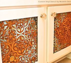 How to Stencil a Rustic Patina Pattern on Bathroom Cabinets | Hometalk