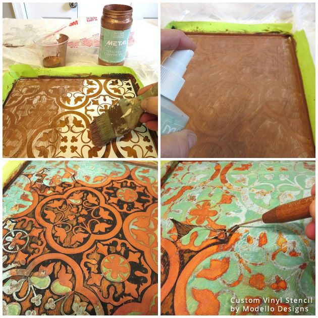 how to stencil a rustic patina pattern on bathroom cabinets, bathroom ideas, how to, painting