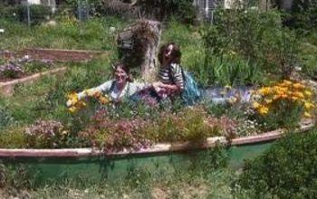 Old boat as garden decor