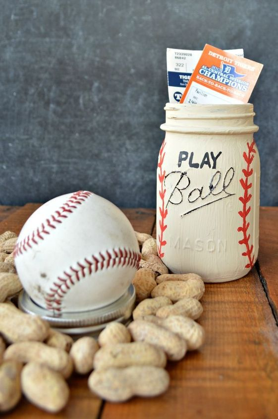 play ball mason jar, chalk paint, crafts, how to, mason jars, repurposing upcycling