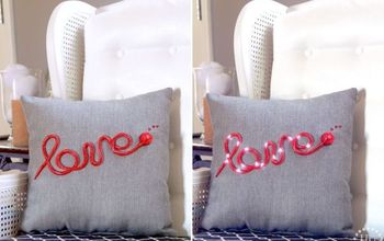 diy marquee pillow, crafts, how to, repurposing upcycling, reupholster