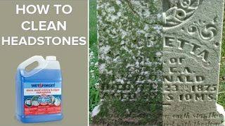 , Wet Forget used to clean moss mold mildew algae and lichen off of headstones Before and after