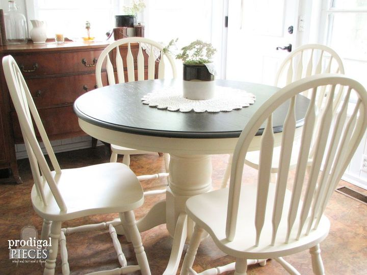 outdated 1980 s dining set gets farmhouse makeover, chalk paint, painted furniture